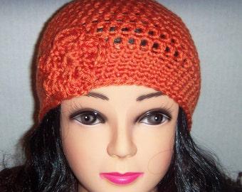 Orange Crochet Beanie Hat with Flower, Womens Accessories