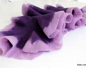 Felt ruffle scarf shawl purple and lilac