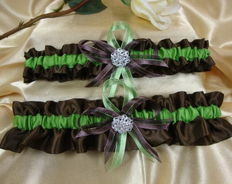 Brown and Lime Green Wedding Garter Set with Rhinestone Deco