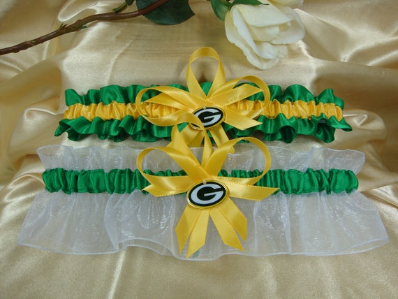 Green Bay Packer Inspired Wedding Garter Set with Charms