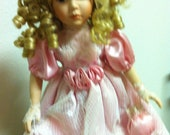 Collectible Porcelain Bisque Doll, Dan Dee International Doll, Collectors Choice Series by Dee Dee 1988, Blonde Doll In Pink Satin and Lace
