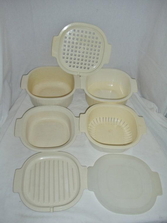 Rubbermaid 7 PC Microwave Cookware Set 1 & 3 Qt Steamer Strainer Casserole Bowls