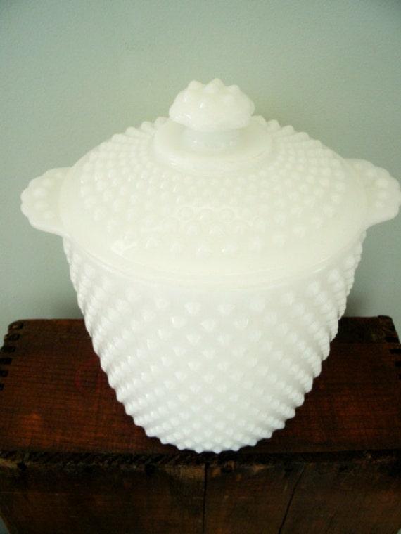 Vintage Hobnail Milk Glass Cookie Jar/Canister White Glassware