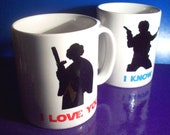 Pair of I Love You I Know Star Wars themed mugs