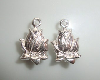 3D Lotus Flower Bud Connector Link, 2 pcs, 14x9mm, 925 Sterling Silver