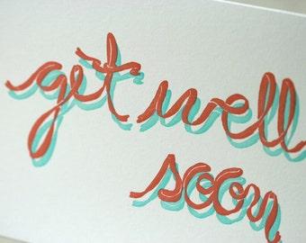 SALE - Get Well Soon Letterpress card - Ribbon - 60% off