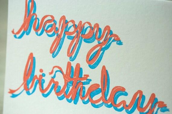SALE - Happy Birthday Letterpress card - Ribbon - 60% off