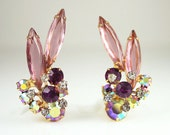 Vintage Juliana Earrings Rhinestone Navette Jewelry