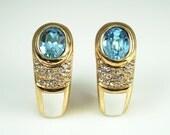 Vintage Christian Dior Rhinestone Enamel Earrings