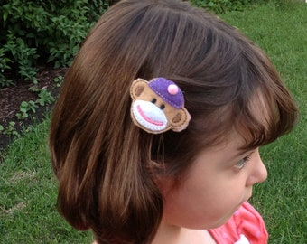 Sock Monkey Hair Clips, set of two, purple and pink
