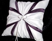 White or Ivory Wedding Ring Bearer Pillow Plum Eggplant Purple Accent