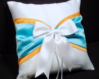 Pool Blue & Tangerine Orange  White or Ivory  Wedding Ring Bearer Pillow