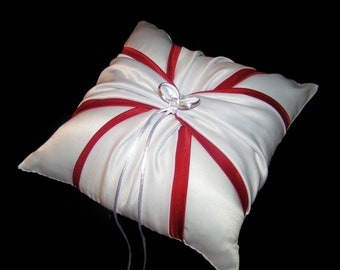 White or Ivory Wedding Ring Bearer Pillow Traditional Red Accent