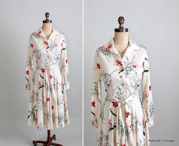 Vintage 1970s Dress : 60s 70s Floral Shirtwaist Dress
