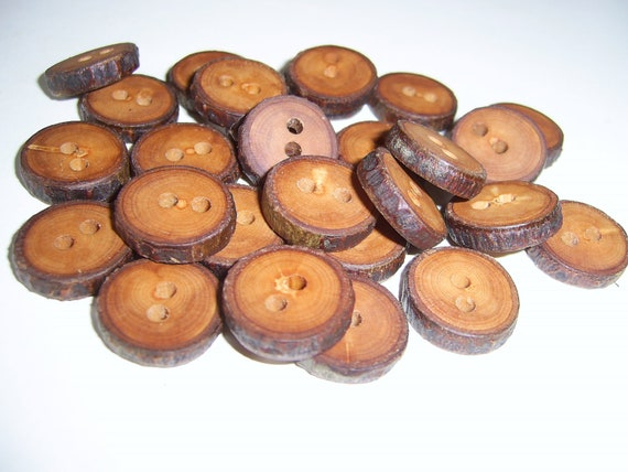 "25 Handmade apple wood Tree Branch Buttons with Bark, accessories (0,71"" diameter x 0,16"" thick)"
