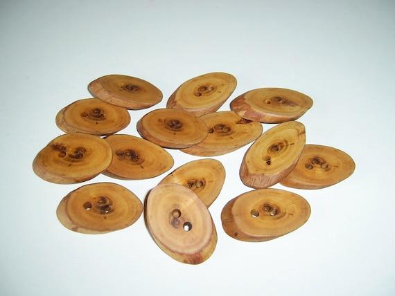 14 Handmade plum  wood  buttons, accessories