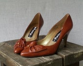 80s Brown Burnt Sienna High Heels Pointed Toe detail Pumps by Proxy Size Us 7.5 / Uk 5.5 / EU 37.5
