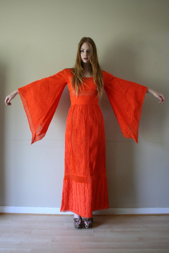 Reserved 70s Angel Sleeve Maxi Gown Mexican Wedding Dress Bright Haute Hippie Bohemian Avant Garde Size Small-Medium sm med md 0-2-4