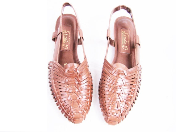 Vintage Brown Leather Woven Huaraches Ethnic Sandals Size 8