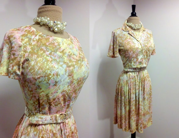 Vintage 1960s Mad Men Dress / 60s Dress With Matching Short Jacket / Rockabilly Dress / Medium