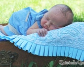 Blue Paisley Ruffle Baby Blanket Newborn Photography Prop - Ruffle Quilt for baby boy