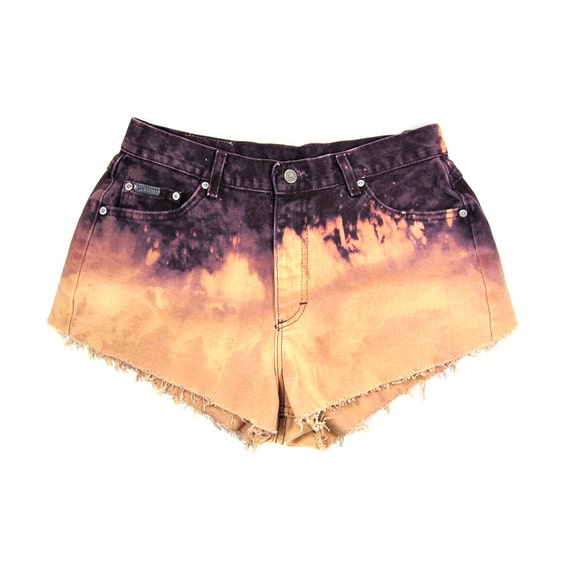 32w / CUSTOM STUDDED Shorts / Hipster High Waist Ombre Shorts / 0043SH