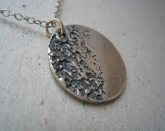 Textured Disk Oxidized Fine Silver Necklace - Disk Pendant - Disk Necklace - Textured Pendant