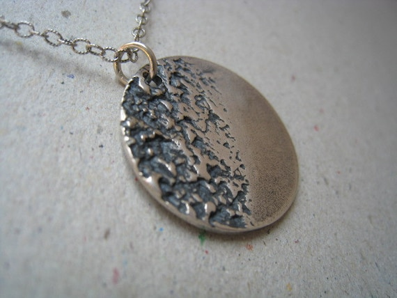 Textured Disk Oxidized Fine Silver Necklace