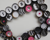 Friends Bottle Cap Picture Frame in Zebra and Hot Pink