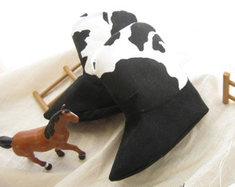 Black and White Cowprint Baby Cowboy or Cowgirl Boots Baby Booties
