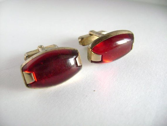 vintage Anson cuff links deep red lucite and gold great condition