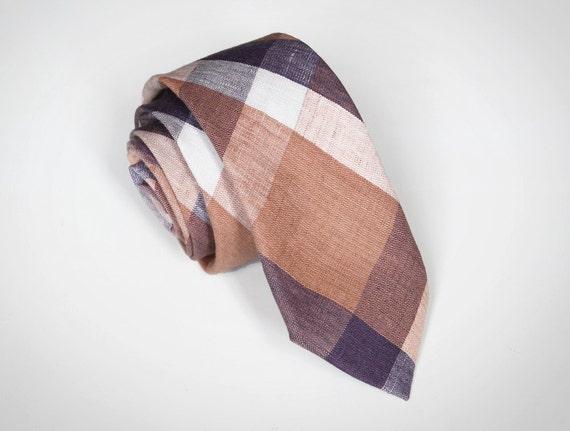 LAST ONE // Andie - Peach/Purple Linen Plaid Men's Tie