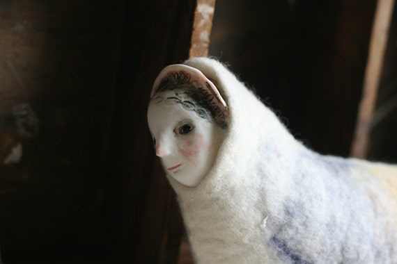"RESERVED : Layby 1/2   Felted Sculpture 8 ""Her in a light soft bird body"" handmade porcelain and fibre doll"