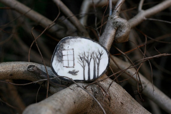 "Porcelain brooch / Small wall piece 19 : ""Outside the window"" handmade original object"
