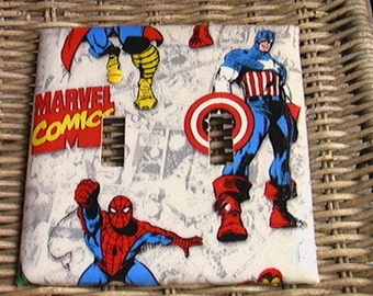 Marvel Avengers Set Captain America Thor Wolverine Spiderman Hulk Iron Man Light Switch Double Toggle Cover Plate and  2 Outlets Set