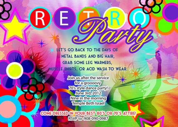 Retro 70s Birthday Disco Dance Tie and dye party ...