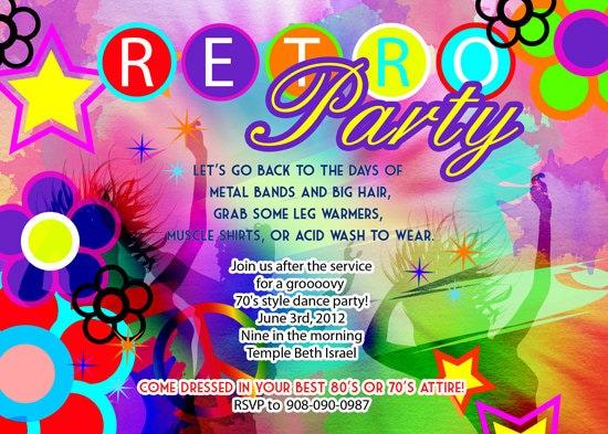 retro 70s birthday disco dance tie and dye party invitation