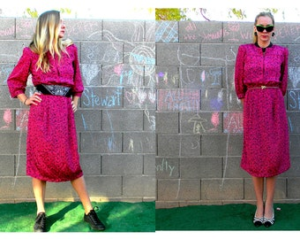 Vintage 1980s Hot Pink and Black Graphic Print Mid Length Secretary Dress by Luci Pellini