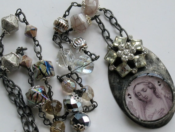 French Holy Card Necklace Vintage Rhinestone Button Soldered Pendant
