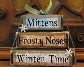 Winter Sign Decor, Mittens, Frosty Noses, Winter Time