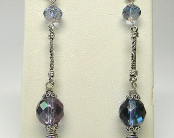 Blue Luster Czech Glass Dangle Earrings