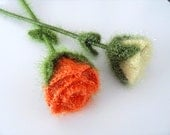 SALE Crochet Roses, Set of 2 Orange And Yellow Roses, Home Decor, Green Leaves, Crochet Flowers,Floral Home