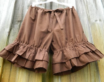 Chocolate bloomers with double wide ruffles