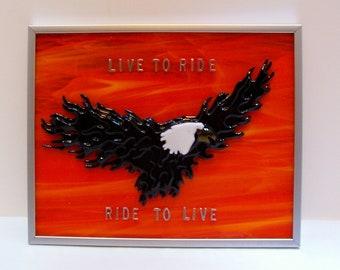 Eagle, Motorcycle, Bikers, Flaming Eagle, Fused Glass, Handmade, Custom Order