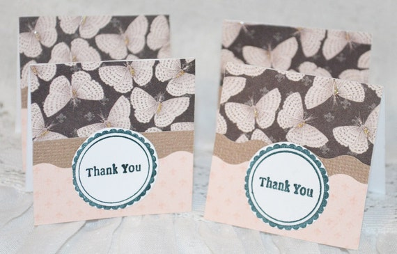 Grey and Pale Peach Mini Thank You Cards with Butterflies Two Dozen