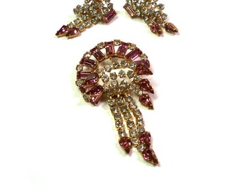 Vintage 40s Antoinette 12k Gold Fill Pink & Crystal Clear Rhinestone Brooch and Earring Set