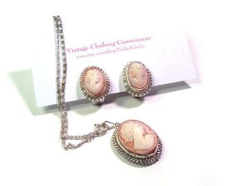Carved Pink Shell Cameo Set Earrings & Pendant on Chain Set in Ornate Fine Silver Bezel