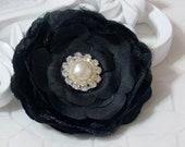31/2'' The Clara flower BLACK silk flowers with pearl and diamond rhinestone hair clip headbands brooches fascinators wedding bride