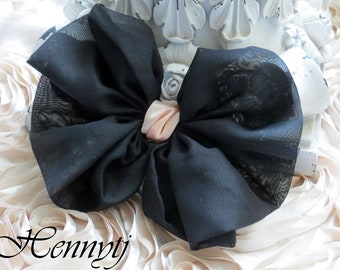 New: 2 pcs Kimy Silk Fabric Bow Millinery for Bridal Sashes, Fascinator or Hat Design Appliques - Black