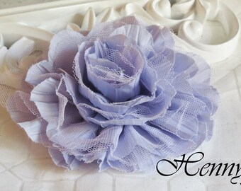 1 pc New Large Shabby Chic Frayed Wrinkled Cotton Voile and Tulle Rose Fabric Flower - Lavender